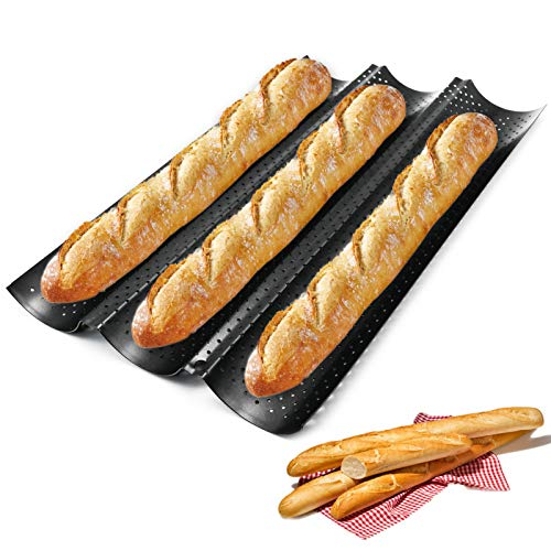"""Baguette Pans for Baking, French Bread Pan Nonstick 15"""" x 9"""" for French Bread Baking 3 Wave Loaves Loaf Bake Mold Toast Oven Baking Tray"""