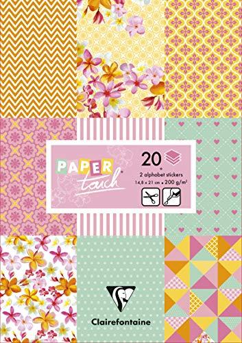 Clairefontaine 95239C - Un bloc de 20 papiers imprimés assortis 14,8x21 cm 200g (10 designs x 2 feuilles) + 2 planches de stickers alphabet + 2 planches d'étiquettes à découper, Shabby