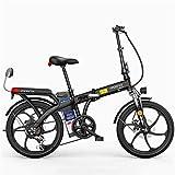 RDJM Bici electrica Bicicletas eléctricas rápidas for adultos de 20 pulgadas Bici de montaña plegable eléctrico for adultos con extraíble 48V de iones de litio E-Bici 250W potente motor 7 Velocidad Sh