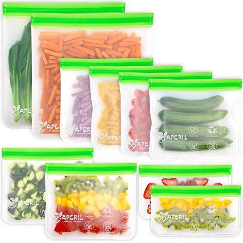 APERIL Sacchetti riutilizzabili Alimenti - 10 Confezione panino Sacchetti per Freezer a Tenuta stagna, Extra Spessi, per marinare, Frutta, Cereali, Senza BPA.