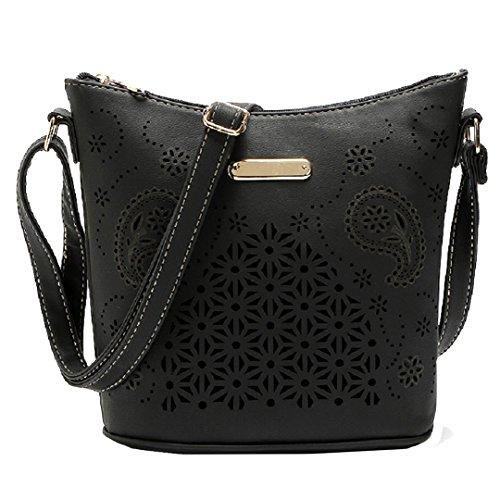 ABBY Le nouveau sac à main seau paquet européen et de la mode américaine épaule sauvage sac à main grande capacité diagonale creuse/Noir