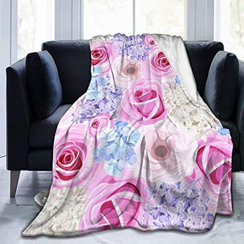 Personalisierbare Decke mit rosa Rosen,...