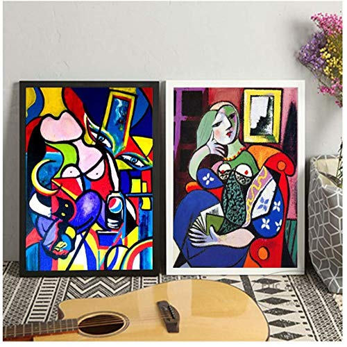 Poster Bilder Set,Picasso Frauen Abstrakte Leinwand Kunstdruck Malerei Poster Wandbilder Für Wohnzimmer Home Dekorative Schlafzimmer Dekor -50X70Cmx2Pcs No Frame,Poster Kinderzimmer