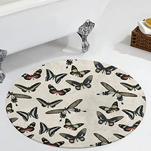 Veryday Alfombra redonda con diseño de mariposas, lujosa, para salón, puerta, entrada, para habitación de los niños, baño, color blanco, 60 cm