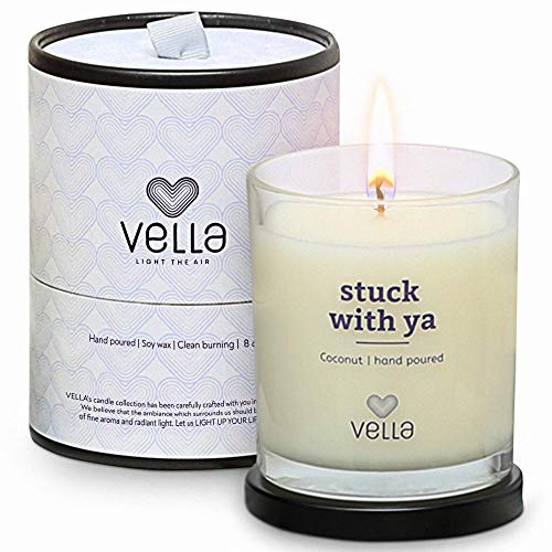 Vella Organic Coconut Candle   Scented Candles   Friendship Candles Gifts for Women   Love Candle in a Gift Box   Candles with Sayings   50-Hour Burning Time   8oz