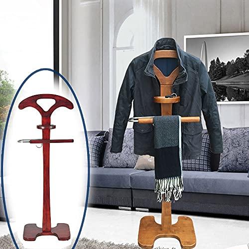 LOHOX Galán De Noche Mueble con Bandeja de Almacenamiento Redonda y Percha en Forma de L Perchero de Pie para Dormitorio Moderno para Hombre - Al x An: Aprox.145 x 45 cm