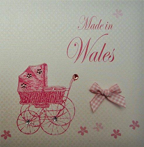 Wit katoen Made in Wales handgemaakte baby Town kaart met roze kinderwagen