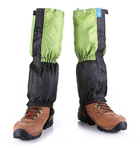 Kungken Unisexe extérieur étanche Guêtres de coupe-vent protection de jambe anti-neige Guard pour le ski de randonnée d'escalade de chasse, Homme femme Enfant, Red