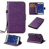 SZYT Móviles funda para Samsung Galaxy Core Prime G360 / Samsung Galaxy Prevail LTE, Modelo en relieve de elefante Función de Billetera case de teléfono Con la correa de la manija y la ranura para tarjeta, Púrpura