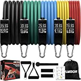 AMBOR Exercise Resistance Bands Set with Handles, Door Anchor, Ankle Straps, Carrying Bag for Home Workouts Fitness Training