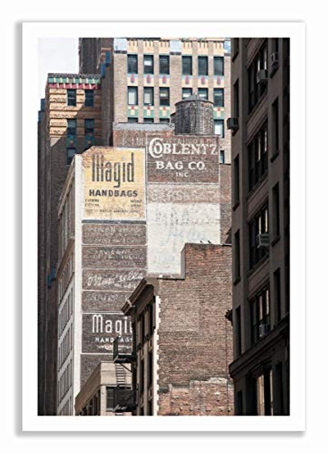 Manhattan Bricks Walls Aluminium Frame Black Satin Full Format, Multicolored, 40x60