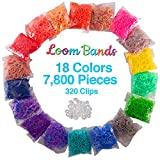 Loom Rubber Bands 7800 pc Value Pack - 18 Color Refill Set w Rainbow and Tie Dye Colors Plus 320 Clips - Compatible with Rainbow Looms, Great Gift or Bracelet Making Kit for Girls