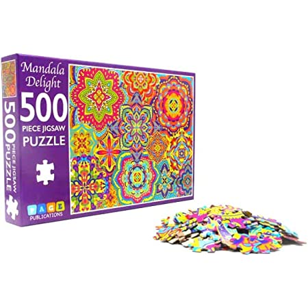 Yellow Mandala Weave Texture Round Jigsaw Puzzle 500 Pieces