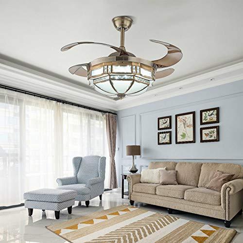 Ventilador de techo de 100 cm con iluminación LED regulable y mando a distancia, dorado, 4 aspas retráctiles, regulable en 3 cambios de color, ajustable en 3 velocidades, silencioso para salón