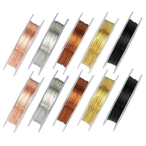 Fili di perline di rame10 rotoli, filo di gioielli da 0,3 mm e 0,5 mm per l'artigianato artistico fai-da-te (10 metri per rotolo)