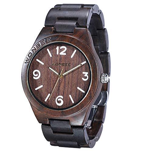 Reloj de Madera Wonbee para Hombres y Mujeres-Artesanía Hecha a Mano Relojes de Madera-Banda de Madera del Reloj –Bisel de Madera- Reloj de Pulsera de ébano- Serie ARABTOON
