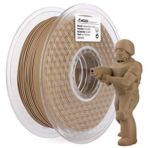 AMOLEN Filamento PLA 1.75mm, Filamento Marrón Mate para Impresión 3D, Impresora 3D Filamento PLA, 1KG