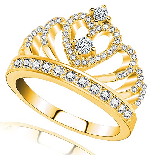 Princess Queen Crown Rings for Women Girl Eternity Heart-Shaped Promise Ring Zircon Jewelry Gold Size 6