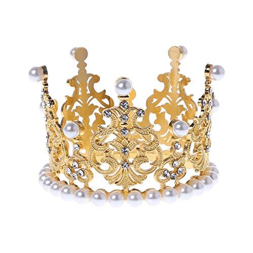 S-TROUBLE Accesorios de fotografía de Corona de bebé Moda de Lujo Perla Diamante de imitación Brillo Oro Plata Foto Decoración de Fiesta de cumpleaños Niñas Princesa Diadema Tocado Decoración