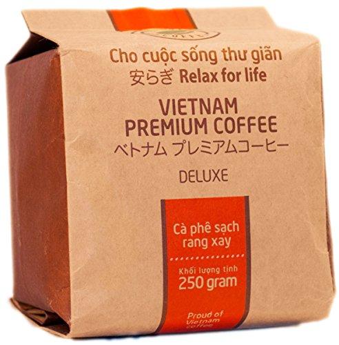 VietBeans – Hello5 Deluxe gemahlener Röstkaffee - Organisch angebauter vietnamesischer Kaffee aus Buôn Ma Thuột Vietnam – Hoher Koffeingehalt - 250g