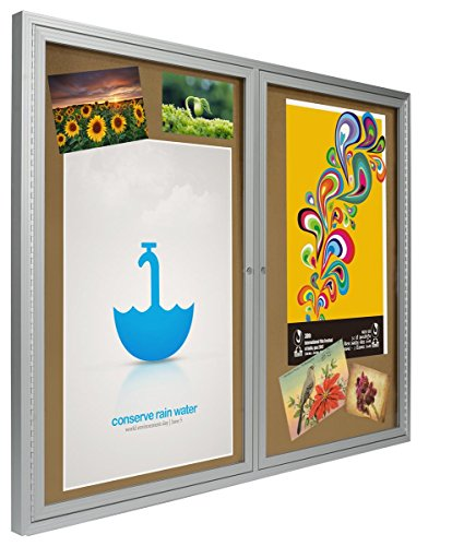 48x36 Enclosed Bulletin Board for Wall Mount with 2 Locking Swing-Open Doors, 4' x 3' Framed Cork Board Includes Wall Bracket, Silver Aluminum with Natural Cork Backing