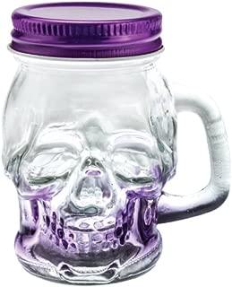 sugar Skull Shot Glasses Mason Jar with Lid and Handle - Novelty Shot Glass 3 oz (Purple)