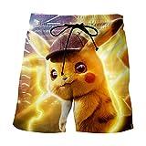 Banador de Natación para Hombre Casual Anime Pokemon Summer Beach Shorts Tablero Pantalones Cortos con Bolsillo Lateral-A_2XS