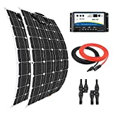 Giosolar Panel Solar 200 W Flexible Panel Solar Kit Cargador de Batería Monocristalina 20A Dual Batería Solar Kit de Carga para Barco Caravana Off-Grid