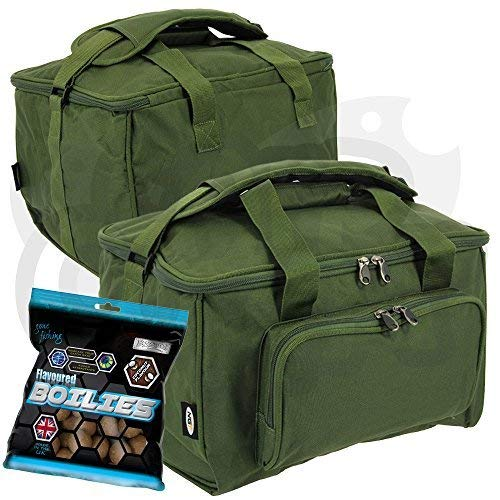 NGT Carp Fishing Medium Green Storage Tackle Carryall Bag Holdall with Free Boilies!