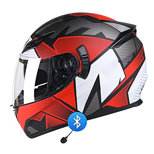BDTOT Bluetooth Cascos Motocicleta Integrado Casco de Moto con Doble Visera Dot/ECE Homologado Altavoces Montar Al Aire Libre Apto para Cruceros Locomotora Reducción de Ruido Unisex