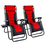 MFSTUDIO Zero Gravity Chair Large Patio Lounge Recliners Adjustable Padded Folding Chair with Cup Holder for Poolside Outdoor Yard Beach, Set of 2 - Red