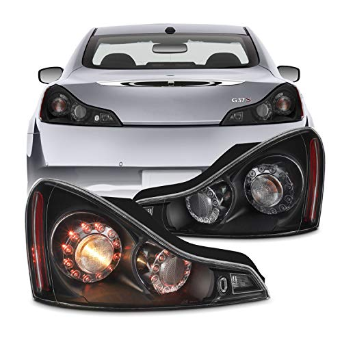Fit 2008-2013 Infiniti G37 / 2014-2015 Q60 Coupe OE Pair Tail Lights Rear Lamps Assembly [Black Housing]