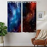 Violetpos 160 x 110 cm cielo estrellado Cosmic Galaxy Nebula azul cortinas opacas juego de 2 cortinas opacas con ojales para dormitorio salón