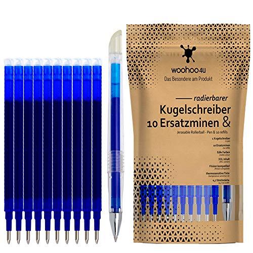 woohoo4u Set aus Ersatzminen und Kugelschreiber, radierbar, 0,7 mm, kompatibel zu Pilot Frixion, XXL Inhalt - 11er Set , Edles Blau