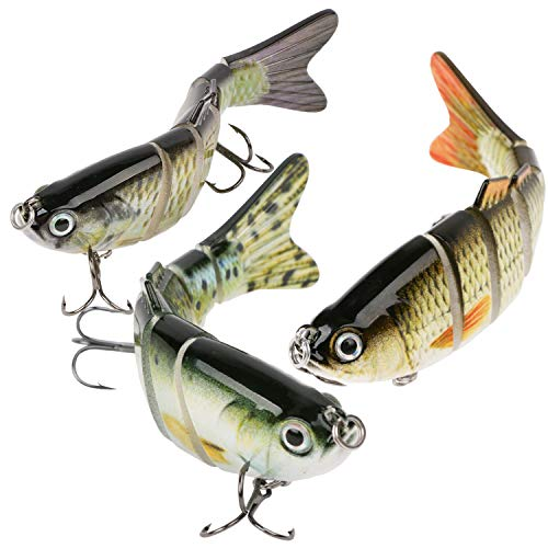 Scotamalone Fishing Lures Bass Trout Lures 3 Pack 6 Segment Tackle 6# High Carbon Steel Anchor Hook Lifelike Multi Jointed Artificial Swimbait Freshwater Saltwater Bass Fishing Lures Kit