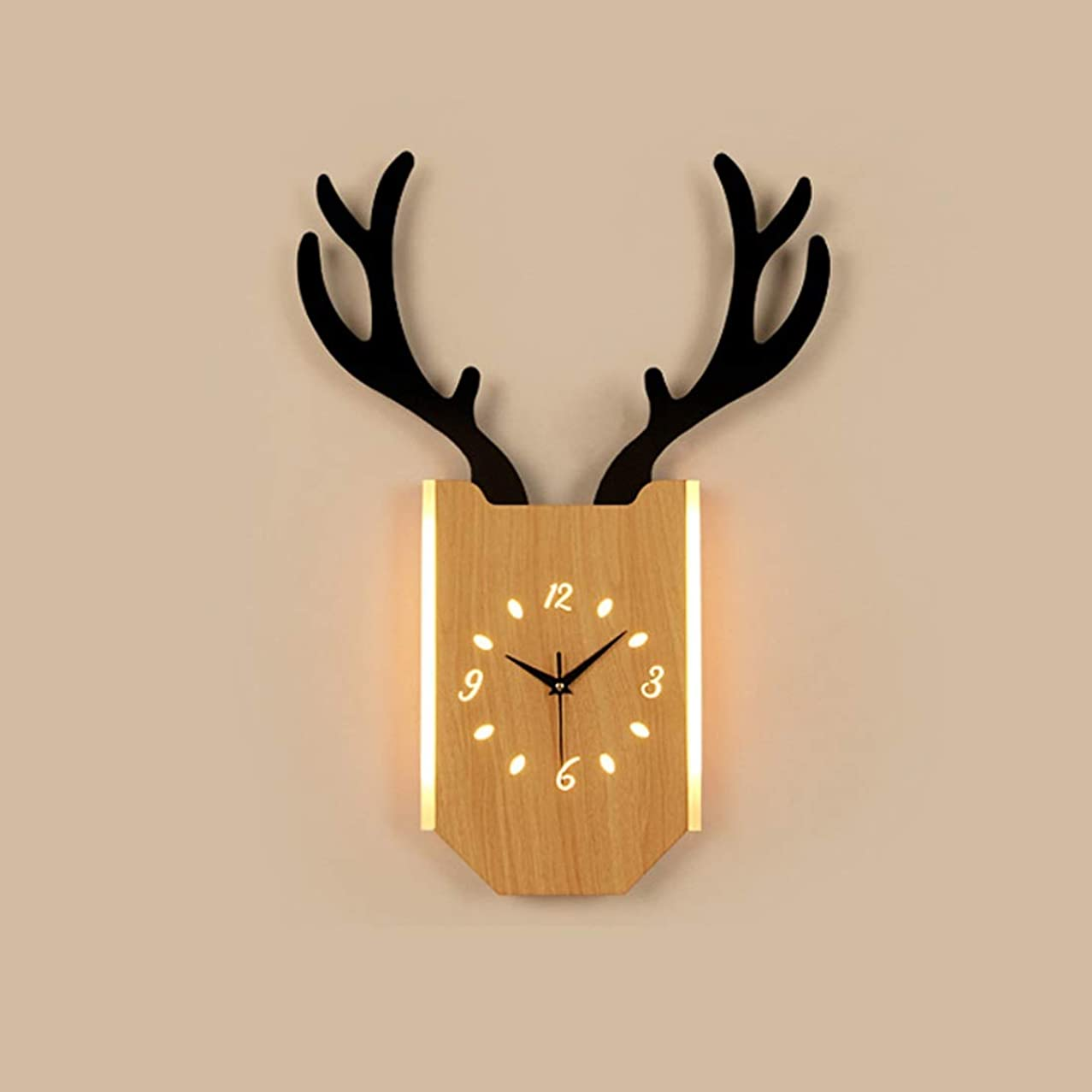 WY-Tong Nordic Clock Wall Light LED Light Source for Bedroom Living Room Wall Decoration (Color : Wood Color)