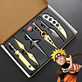 WXFXBKJ New 18cm Naruto Cosplay, 7-PCS Set with Weapon Display Stand, Anime Metal Weapon Kakashi Shuriken COS Accessories Collection Ornaments Kids Adult Toys Gifts
