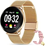 GOKOO Smart Watch for Women Men Compatible with iOS and Android Fitness Tracker Bluetooth Watch with Blood Pressure Monitor Waterproof Heart Rate Sleep Monitor Step Couter Women's Day