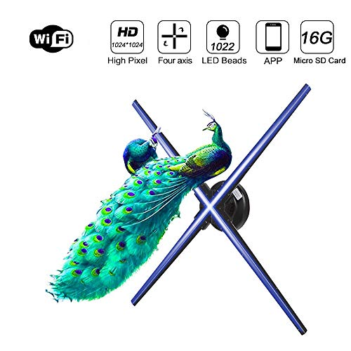 1024P Full HD 3D hologram Advertising display fan met app, 1024 LED kralen, 160 ° View Angle, WiFi Added, holografische Video Foto projector voor Stores Bars tentoonstelling, 28 inch.