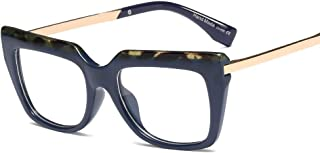Fashion New Women's Retro Flat Mirror Fashion Large Frame Glasses can be Equipped with Myopia Frame Glasses Retro (Color : Blue)