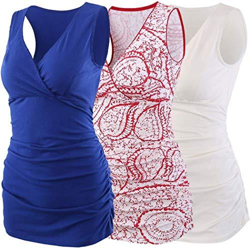 ZUMIY Still-Shirt/Umstandstop, Schwangeres Stillen Nursing Schwangerschaft Top Umstandsmode Unterwäsche (S, Red+Blue+White/3-pk)