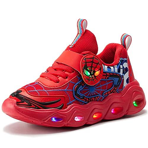 HAOYUXIN Zapatillas de Deporte de Malla para niños Spiderman, Luces LED, Luminosas, para niños, Zapatillas Deportivas Ligeras con Personalidad Baja,Red-25EU