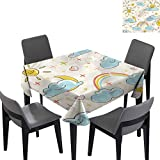 Kids Picnic Table Cloth Cartoon Clouds Weather Theme for Banquet Decoration Dining Table Cover 36x36...