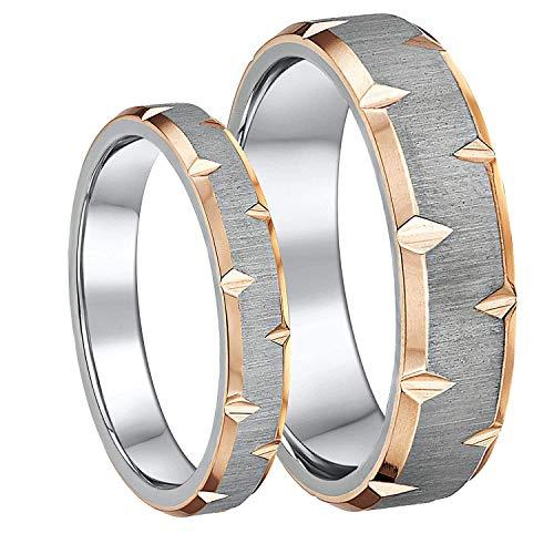 Titanium His & Hers Rings Couples IP Rose Gold & Titanium Engagement Wedding Rings 4mm & 6mm Matching Ring Set