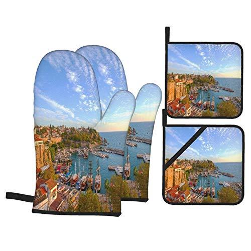 Ofenhandschuhe und Topflappen 4er-Sets,Antalya 08. November Hafen Dämmerung auf,Polyester-Grillhandschuhe mit gesteppten,linerbeständigen heißen Pads zum Kochen,Backen,Grillen