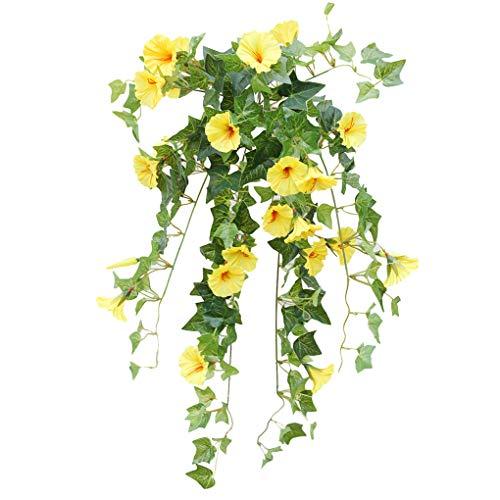 Centitenk Künstliche Trompete Blumen-Girlande Simulation Blumenrebe künstliche Blume Wandbehang Kunststoff gefälschte Blumen, Gelb