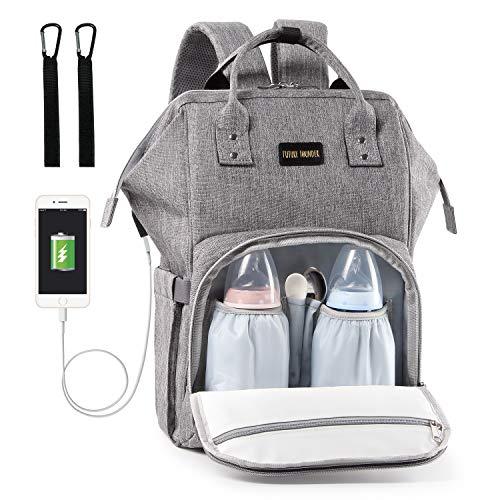 Baby Wickelrucksack Wickeltasche mit Wickelunterlage und Kinderwagen Haken USB-Lade Port Multifunktional Oxford Wasserdichte Große Kapazität Babytasche für Reise, Grau