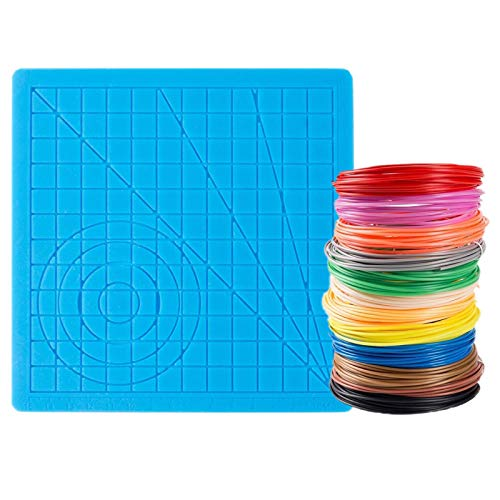 Tappetino in silicone per stampante 3D con 12 colori filamento PLA 1,75 mm per bambini e adulti per iniziare la stampa 3D e creare arte 3D (Basic Big Template +12 colori)