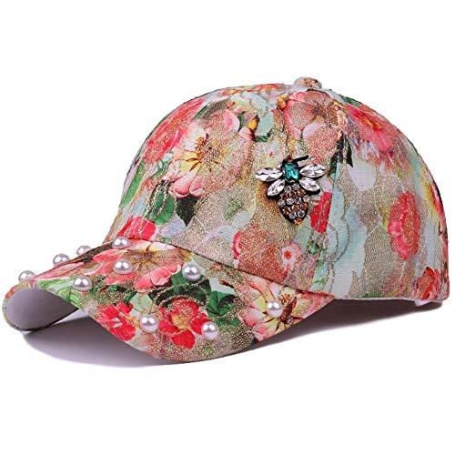 CHEMOXING Frühling Und Sommer Weiblicher Hut Goldene Seide Blume Lässig Baseballkappe Im Freien Strass Biene Perle Sonnenhut