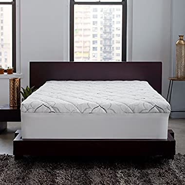 Sleep Innovations Instant Pillow Top Memory Foam and Fiber Mattress Topper, Made in the USA with a 10-Year Warranty - King Size